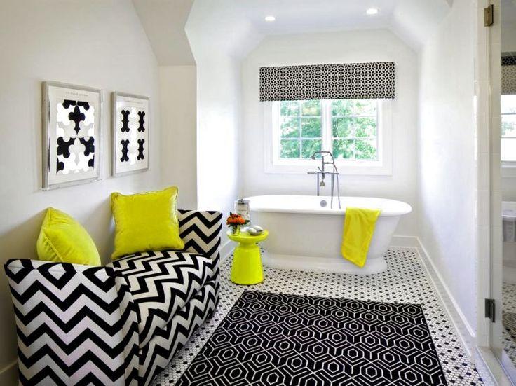 YELLOW BLACK WHITE BATHROOM IDEAS - http://www.homedesignstyler.com/yellow-black-white-bathroom-ideas/