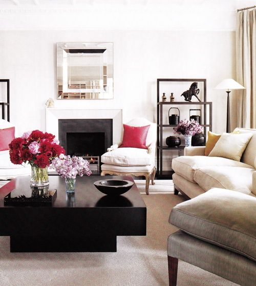 The Bold Pillow Accents Flowers And Coffee Table Pull It