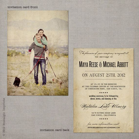 Vintage Wedding Invitation Maya Set 3 By NostalgicImprints 287