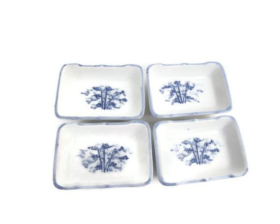 Vintage Blue and White Porcelain Salt Cellars Bamboo Design Butter Pats Condiment Dishes Asian Tea Bag Rests Spoon Rest Pin Dish  Vintage blue and white porcelain dishes. The set of 4 have hand painted blue bamboo Asian design on white background.  The salt cellars, butter pats are in excellent condition. There are no chips, no cracks, and no crazing. The design is so pretty and very elegant. They each measure 3 3/4 long x 2 3/4 wide x 1 1/8 tall.  The rectangular dishes are pe...