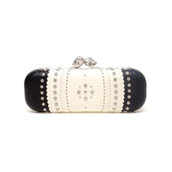 ALEXANDER MCQUEEN Scalloped and Studded Leather Box Clutch ($1,760) ❤ liked on Polyvore
