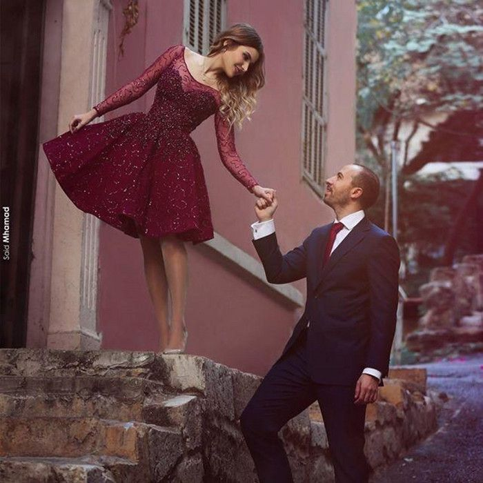 New Style Cocktail Gown,Burgundy Cocktail Dresses,Sparkly Wine Red Homecoming Dresses,Beading Homecoming Gowns,Short Cute Party Dress,Sleeve Cocktail Dresses