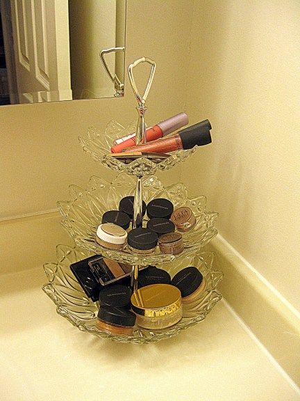 Makeup Display store things vertically to save counter space