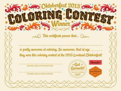 Oktoberfest Coloring Contest Certificate