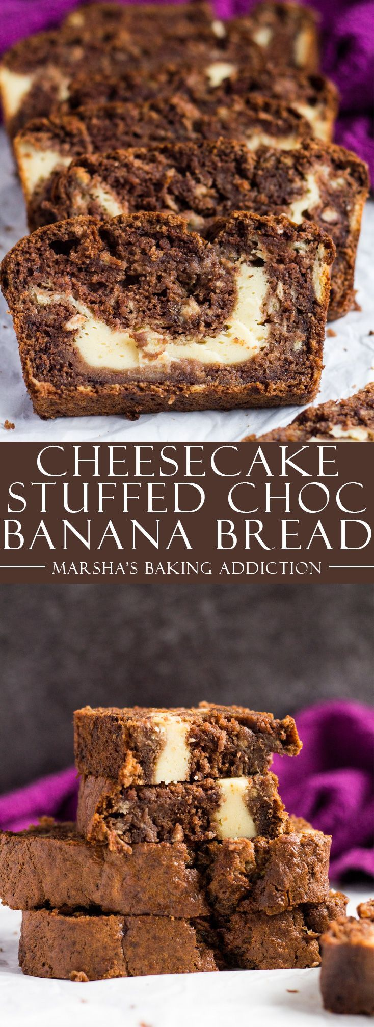 Cheesecake Stuffed Chocolate Banana Bread | marshasbakingaddiction.com @marshasbakeblog
