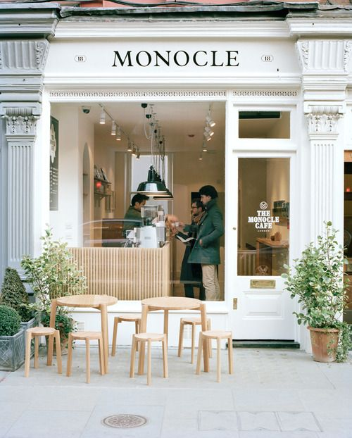 """We wanted to create a relaxed space for a morning coffee meeting, a lengthy weekend lunch with the papers, and a glass of Prosecco after work too."" - Tyler Brûlé, Monocle's editor in chief (The Monocle Cafe London) #dylanandharper"
