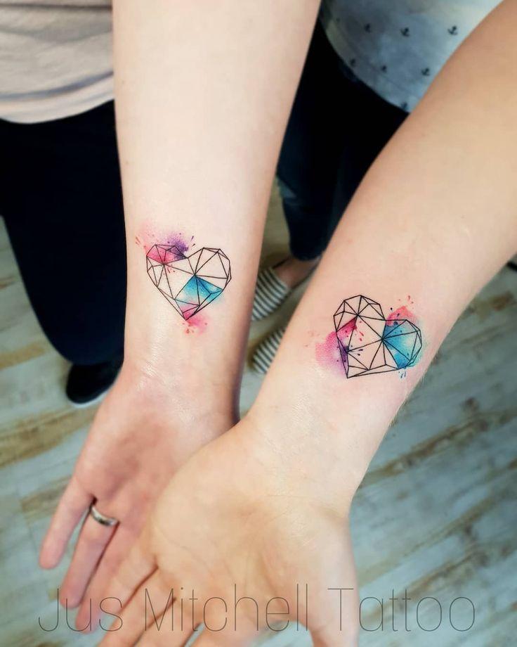 L.O.V.E 🖤 #love #sistertattoos #bestfriends #hearttattoo #watercolortattoo