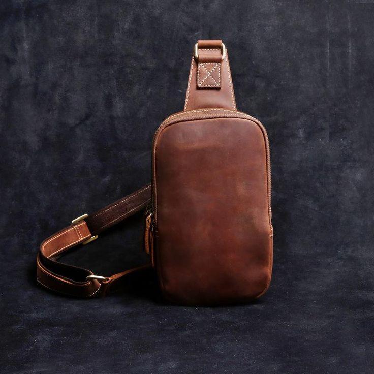 Overview: Design: Handmade Leather Mens Cool Chest Bag Sling Bag Crossbody Bag Travel Bag Hiking Bag for menIn Stock: Ready to Ship(2-4 days)Include: OnlyBag