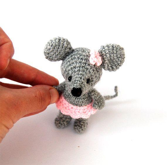$21.82 #Miniature #mouse, #stuffed #ballerinamouse, #handmade #tiny #mouse, #little #ballerina #animal #doll, #amigurumi #mouse #grey #pink, #crochettinymouse