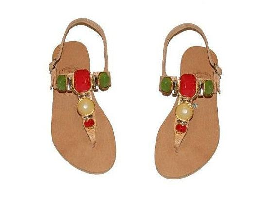 Luxurious Women's Leather Sandals - Nature Brown with stones