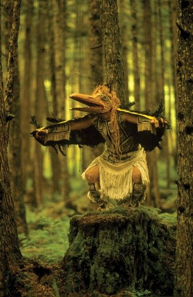 The Raven Dancer of the Tlingit Native American tribe was photographed on an island outside Juneau, Alaska,