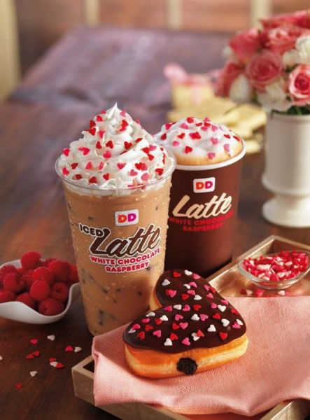 Dunkin Donuts New White Chocolate Raspberry Lattes with Valentine's Day Donuts