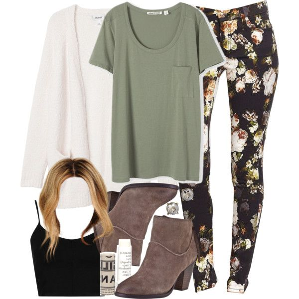 A fashion look from October 2014 featuring green shirt, white cardigan and crop top. Browse and shop related looks.