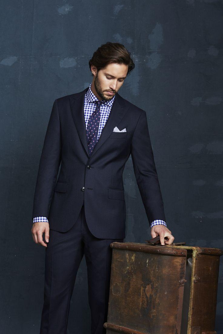 Balcarres Navy Suit; Anatole Blue Shirt; Tamango Navy Tie; Navy/White Striped Pocketchief