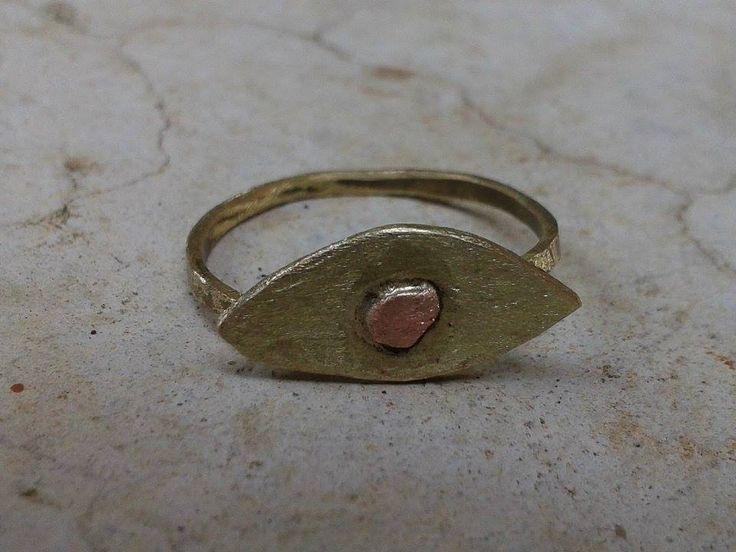 handmade ring/ bronze/ copper/ cuff/ evil eye/ minimal/ K.ompo.S- Handmade Jewel
