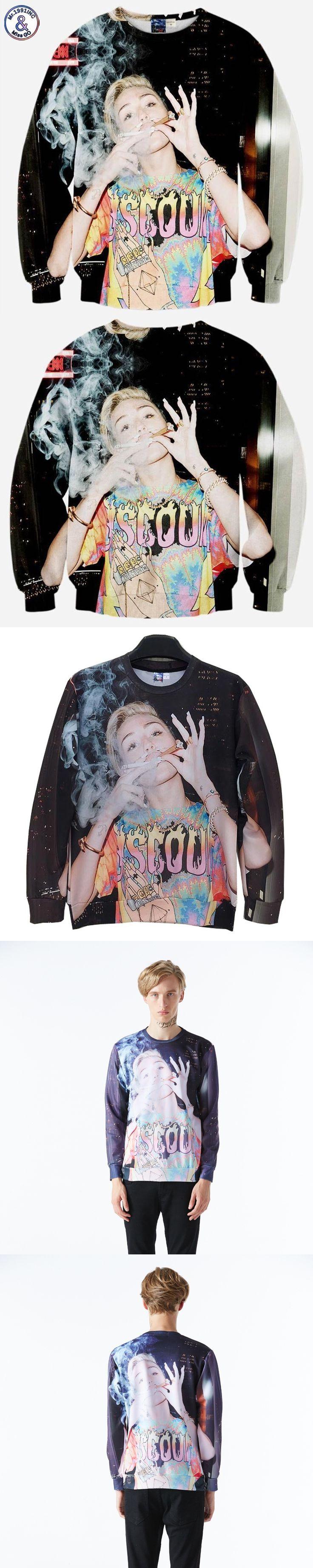 2017 Mr.1991INC Men/women 3d sweatshirts print sexy smoking lady Miley Cyrus cartoon casual hoodies Harajuku Hoody tops W188