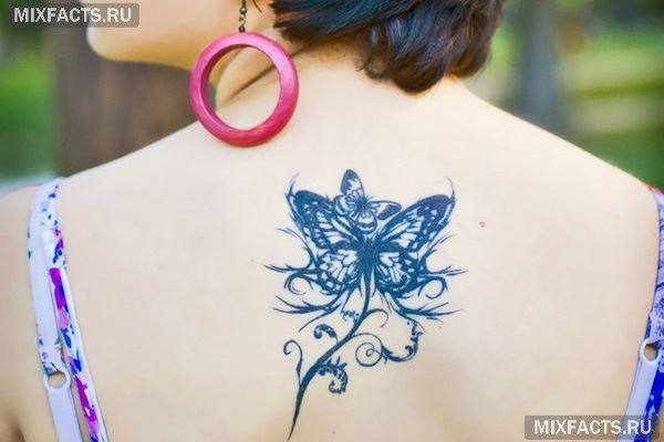 татуировка бабочка на затылке