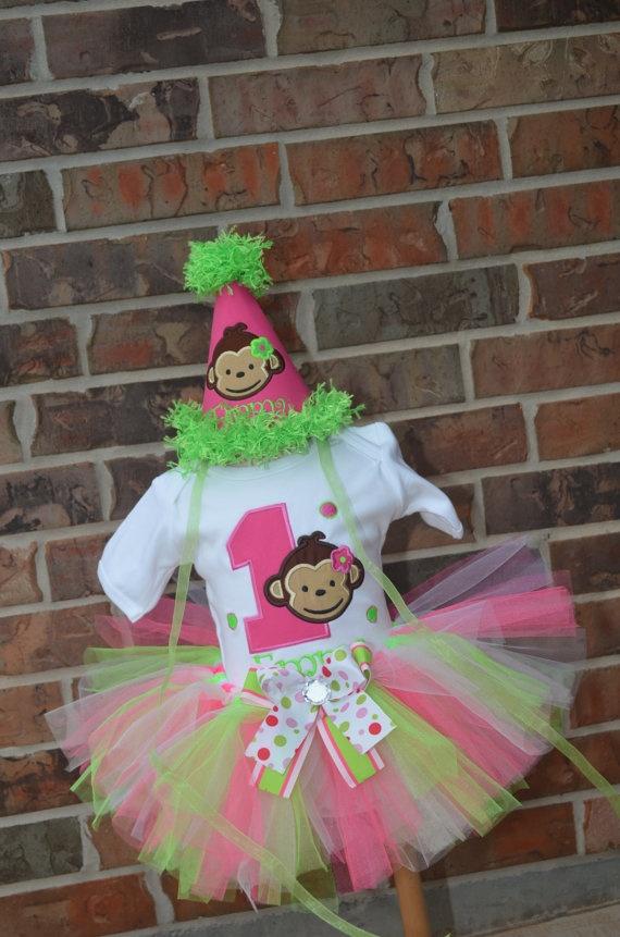 Personalized Girl Monkey Birthday Shirt Tutu by MiniExpressions, $65.95