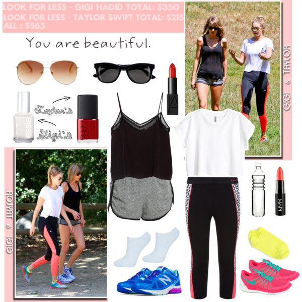 Look for less: Taylor swift & Gigi Hadid by mutiaranhlz on Polyvore featuring H&M, MANGO, Juicy Couture, Hue, Topshop, New Balance, NIKE, Tommy Hilfiger, NYX and NARS Cosmetics