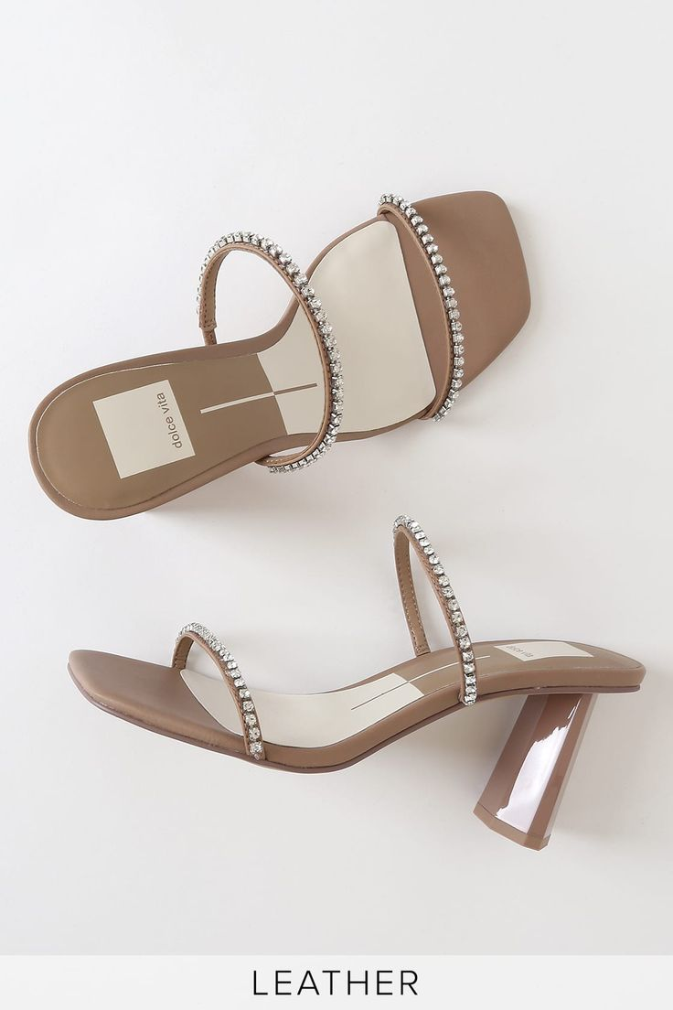 Dolce Vita Naylin Cafe - Rhinestone Heels - Nude Heel Sandals