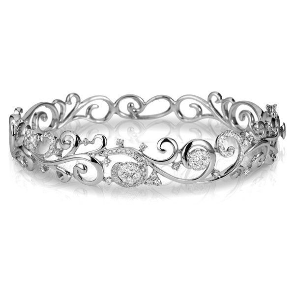 Effy Jewelry Pave Classica 14K White Gold Diamond Filigree Bangle found on Polyvore featuring jewelry, bracelets, pave diamond bangle, hinged bracelet, 14 karat gold bangle bracelet, bangle bracelet and hinged bangle