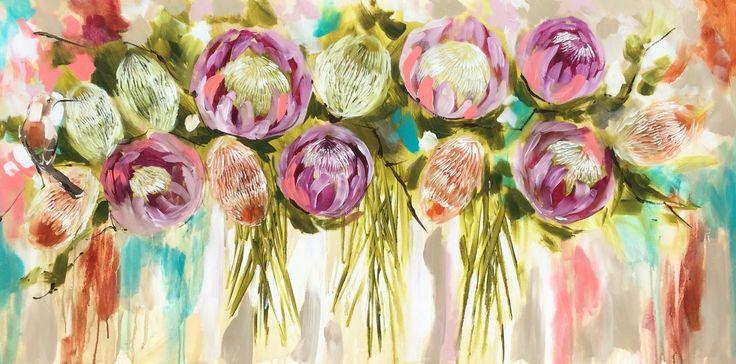 bush arrangement- original on canvas 75 x150 cm