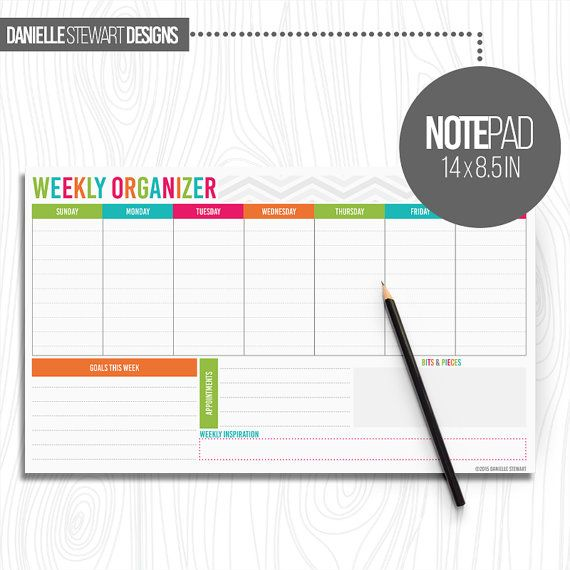 WEEKLY ORGANIZER | NOTEPAD  Size: 14 x 8.5 Pages: 50  The Weekly Organizer is the perfect notepad to keep on your desk and home or work. This