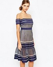 Self Portrait Striped Mesh Midi Dress With Peplum Hem - Multi image