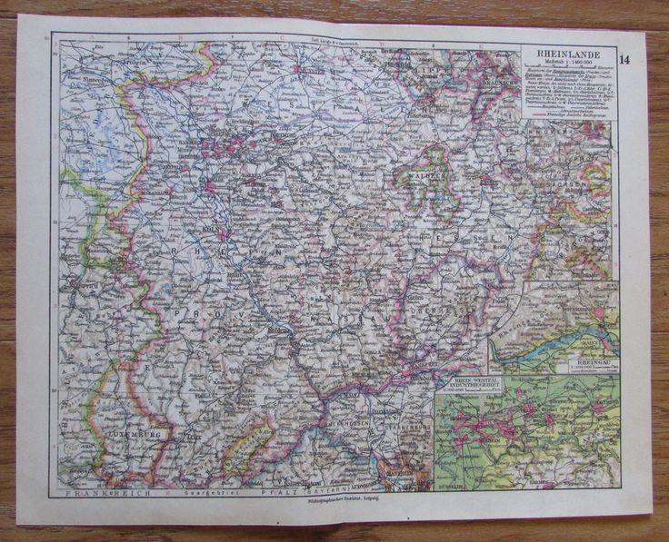 Rheinland Rheinlande Deutschland Germany - alte Landkarte Karte old map 1928