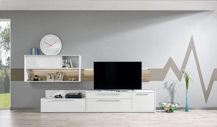 Gamble - Obývací stěna 570710 (bílá/bílá lesk/panel dub sand)
