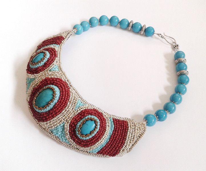 Türkis - Perlencollier mit Türkis - ein Designerstück von tizianat bei DaWanda