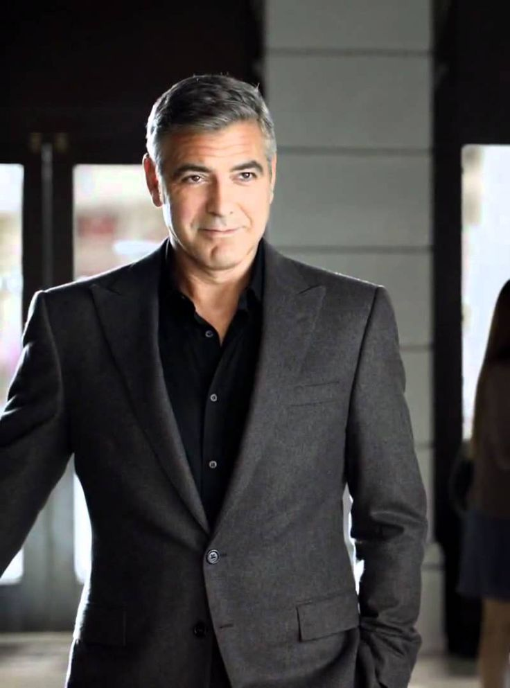 George Clooney In Black Shirt And Dark Grey Suit