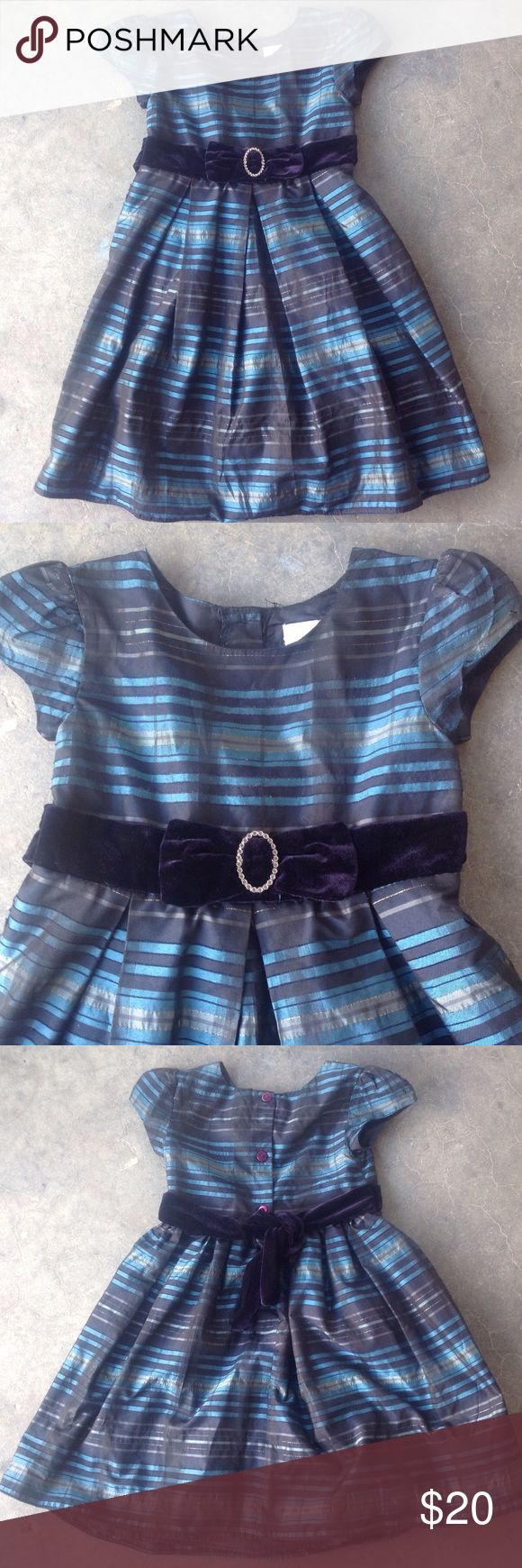 Perfectly Dressed Striped Formal Dress - 6X Teal, black stripes, gold threads shot throughout, short sleeves, velveteen sash and bow with rhinestone center, lined. 99% Polyester 1% Other Perfectly Dressed Dresses Formal
