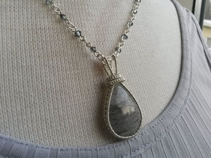 Handcrafted gray necklace with teardrop Rutile quartz pendant - Quartz wire wrapped necklace - Teardrop pendant necklace by IMKdesign on Etsy