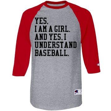 I Understand #BaseballGirlfriend Raglan Jersey at Customized Girl. Also great for a #BaseballMom.
