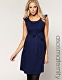 ASOS Maternity Exclusive Belted Dress With Scoop Neck - Blue