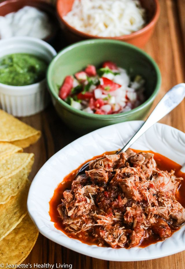 Slow Cooker Chicken Tinga Tacos Recipe - Jeanette's Healthy Living @jeanetteshealth