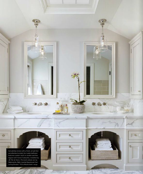 master bathroom - dove grey cabinetry and marble countertops