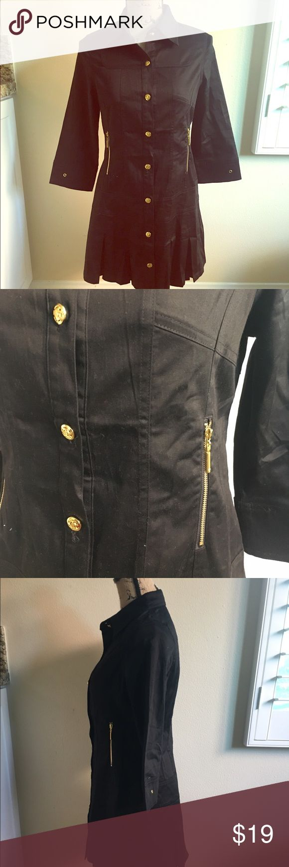 Black and gold accented loose fitted jacket Thin light almost canvas material soooo cute over almost any outfit. Worn once! Just above knee length. Can be dressed down or up. Jackets & Coats