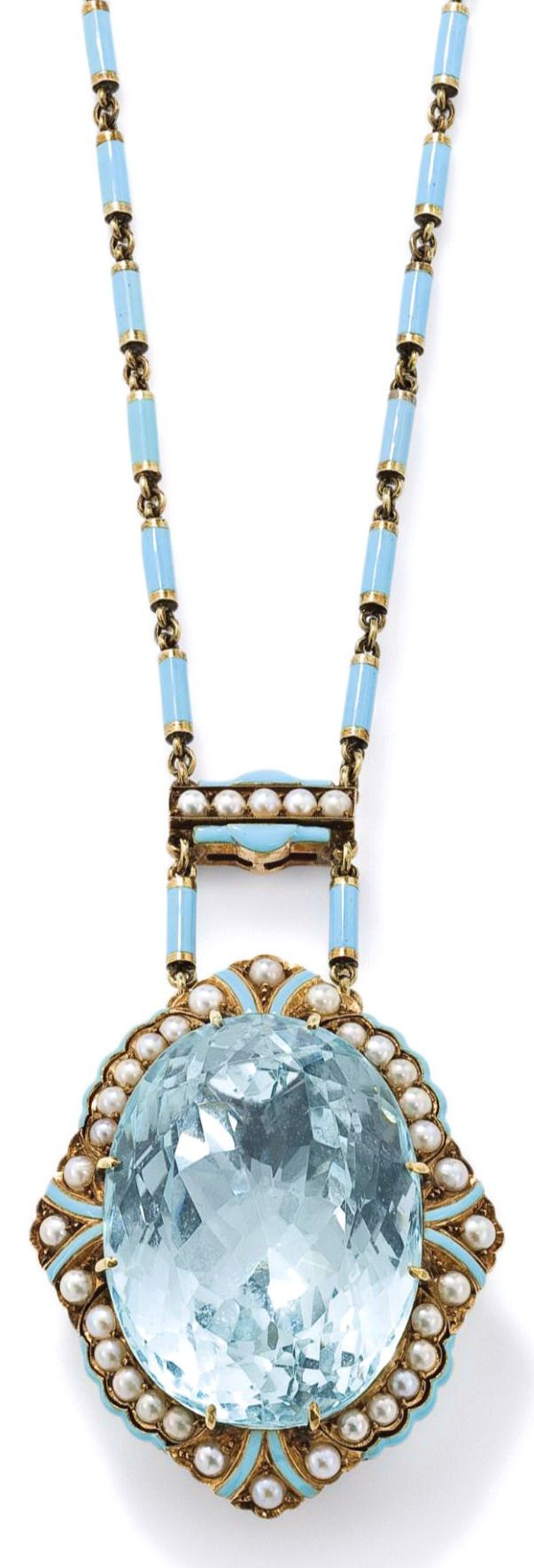 An aquamarine and pearl necklace   The oval mixed-cut aquamarine, weighing approximately 65.00 to 70.00 carats, claw-set within a scalloped half-pearl and light blue enamel frame to a similarly set surmount and suspended from a similar blue enamel baton-link chain, necklace length 46 cm, pendant length 5.7 cm.