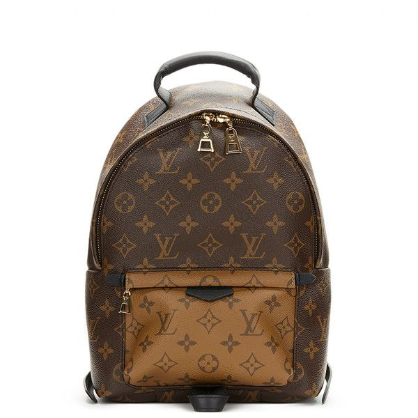 Pre-Owned Louis Vuitton Brown Monogram Reverse Coated Canvas Palm... ($2,749) ❤ liked on Polyvore featuring bags, backpacks, brown, louis vuitton, brown handle bags, louis vuitton bags, zip bag and brown bag