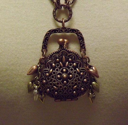 Copper Locket Style Necklace with Hearts - Purse Locket, Handbag Locket, Accessories, Victorian, Vintage Style, Wedding. $38.00, via Etsy.