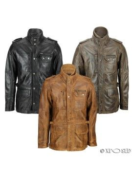 XPOSED Mens Real Leather Vintage Smart Casual Military Field Jacket Tan & Brown