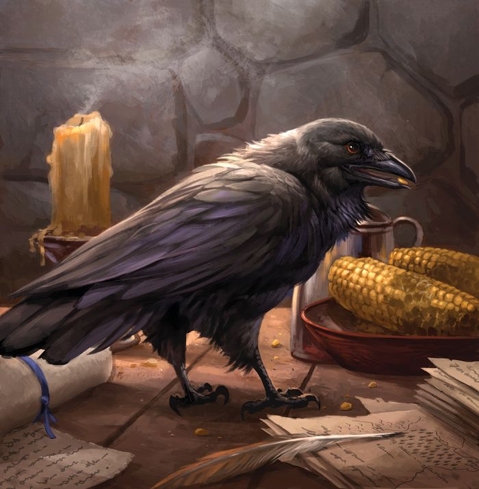 Old Bear's Raven by sandara crow wizard's sorcerer's familiar monster beast creature animal | Create your own roleplaying game material w/ RPG Bard: www.rpgbard.com | Writing inspiration for Dungeons and Dragons DND D&D Pathfinder PFRPG Warhammer 40k Star Wars Shadowrun Call of Cthulhu Lord of the Rings LoTR + d20 fantasy science fiction scifi horror design | Not Trusty Sword art: click artwork for source