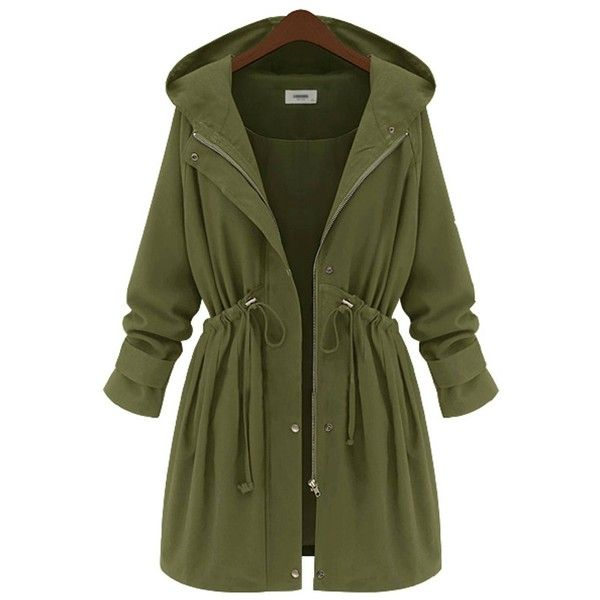 Yoins Plus Size Army Green Hooded Parka Coat-Green  XL/XXL/3XL/4XL ($45) ❤ liked on Polyvore featuring outerwear, coats, jackets, green, green coat, plus size coats, womens plus coats, womens plus size coats and single breasted coat