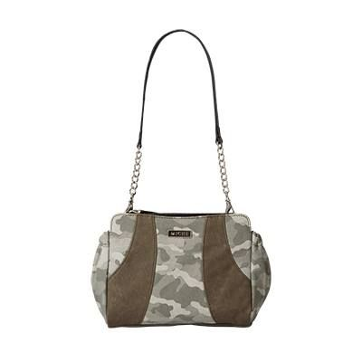 Gabby Here's a salute to camo lovers everywhere! You don't have to be in the military or enjoy hunting to fall in love with the Gabby for Mini Miche Bags. Camouflage print canvas in various shades of olive green are accented by double sweeps of faded olive faux leather on both sides that feel like suede. This fun design goes with just about everything and is perfect for any casual occasion.