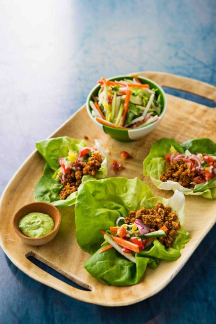 Lorena Garcia's Ground Turkey Tacos Photo credit: Lorena Garcia's New Taco ClassicsLorena Garcia's Ground Turkey TacosServes 4A sturdy butter lettuce leaf becomes a refreshing taco shell for the garlicky ground turkey, and a Chayote Jalapeño Slaw adds crunch and heat, while the Cilantro Crema cools the bites.