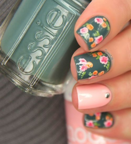 floral pink and green Nail art