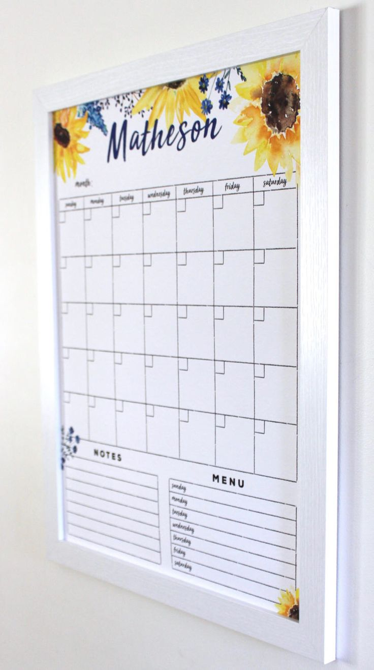 Dry erase Calendar - Spectacular Sunflowers!  Watercolor calendar - Framed calendar - magnetic calendar - Personalized calendar by CalendarGirlCompany on Etsy https://www.etsy.com/listing/503375660/dry-erase-calendar-spectacular