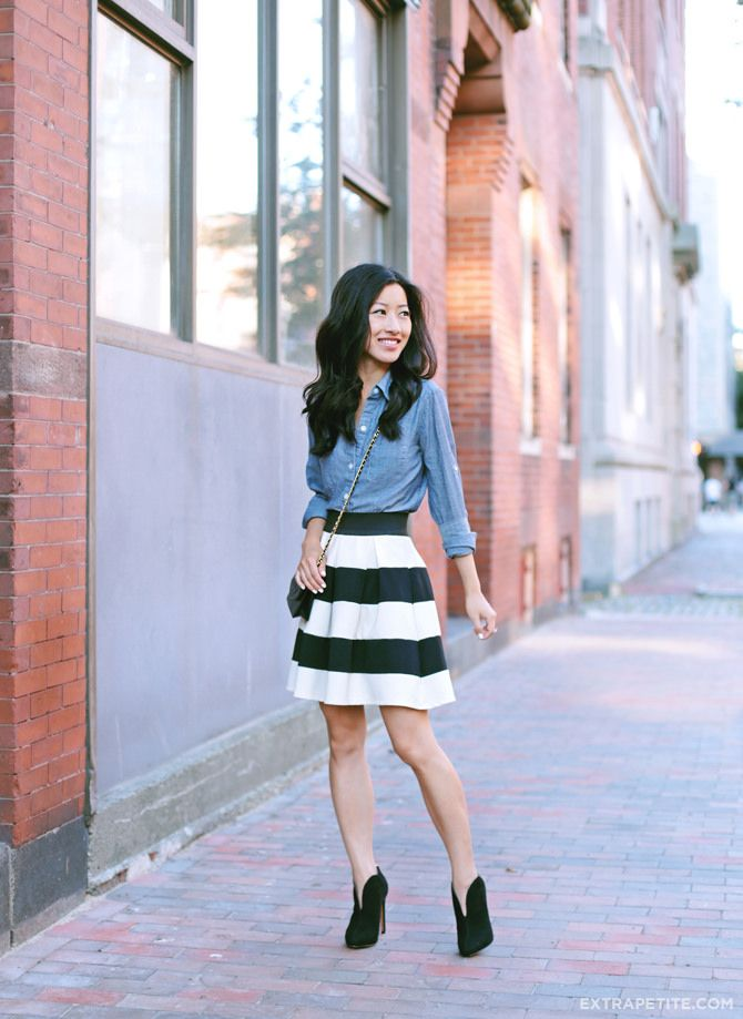 ExtraPetite.com - From Meeting to Meeting with Nine West chambray shirt + striped skirt and ankle booties